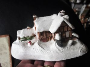 "COLLECTABLE MILESTONE COTTAGE WITH ORIGINAL DEED SNOWY WINTER MILTON 6"" LONG"